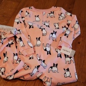 Carters Pink Bulldog pajamas, NWT